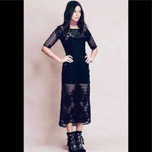 For Love and Lemons Black Crochet Dress